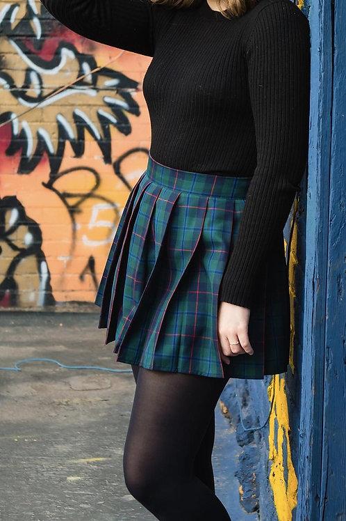 Armstrong  Modern Tartan Plaid Pleated Skirt~Douglas Black Pleated skirt~Plus Sz