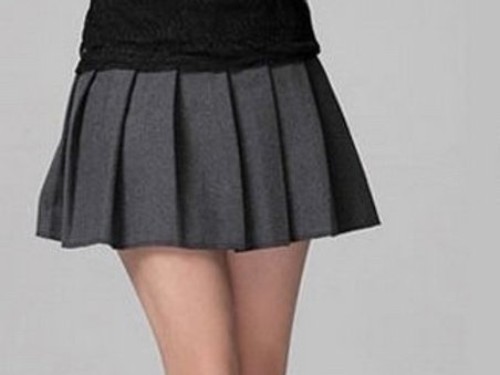 Grey Color Costume Short Plaid Grey Color Pleated School girl Skirt Costume