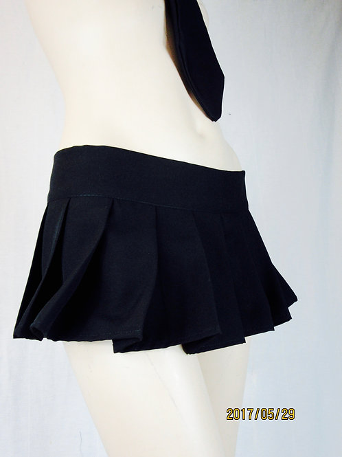 Solid Black Pleated Plaid Skirt~Wrap Around Black Skirt~Skater Summer Skirt