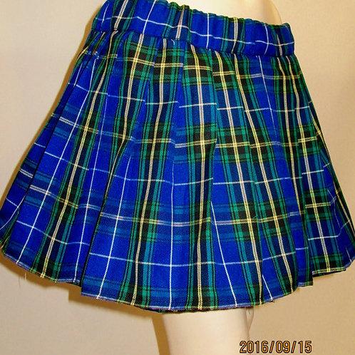 Nova Scotia Plaid Elastic Waistband Pleated Skirt~Blue Black Plaid Pleated Skirt