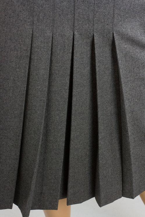 Grey colour Sewn down pleated plaid skirt~School girl pleated Grey skirt