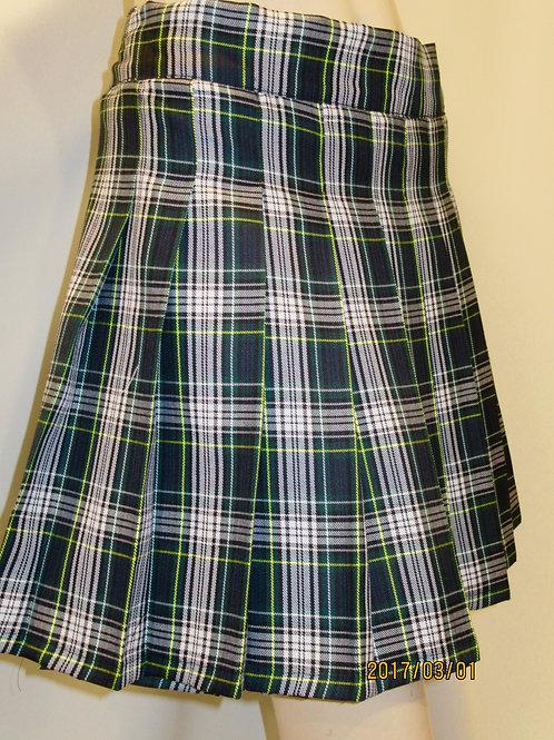 Dress Gordon Plaid Sewn down pleated high waist skirts~White Green Plai