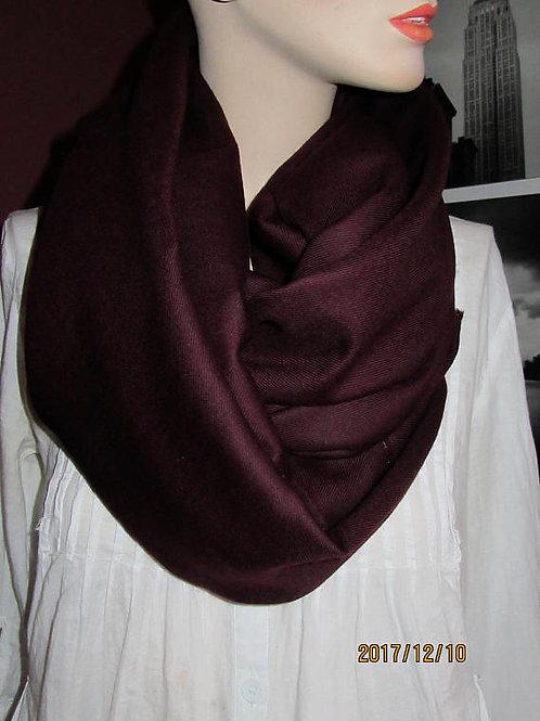 Dark Burgundy 100% Wool Infinity Scarf