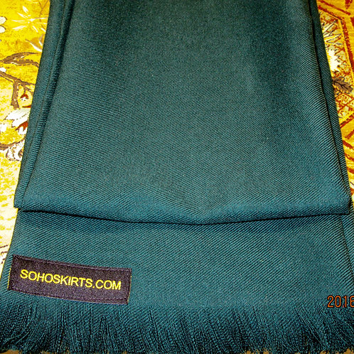 Dark Forest Green Wool Blend Fringe Scarf~Green Colour Men's Fringe Scarf Wrap