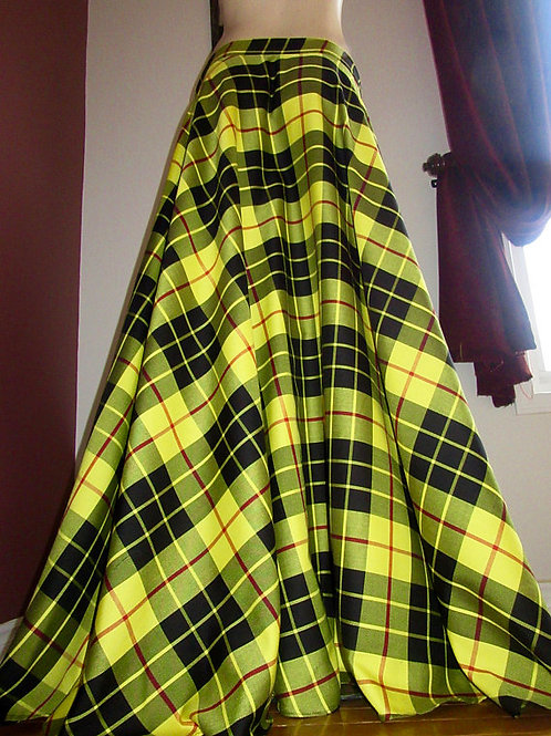 Full Circle MacLeod of Lewis Tartan Plaid Skirt~Yellow Black Plaid Maxi Skirt~