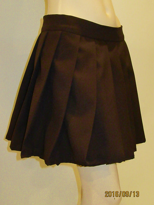 Dark Brown Color High Waist Pleated plaid Skirt~School Girl Cookie brown Skirt