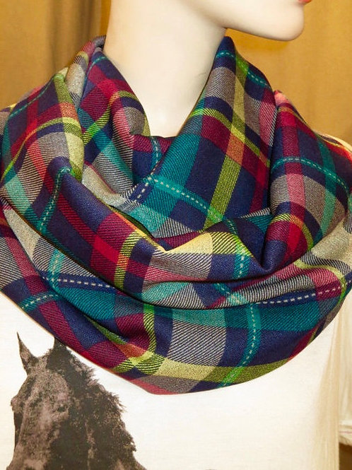 Red Black Green Plaid Infinity Scarf