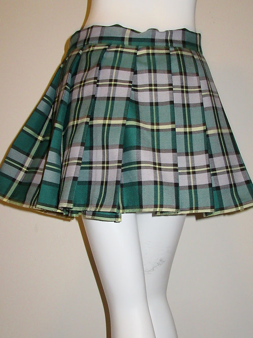 Cape Breton Mini Skirt Pleated Plaid Tartan Green~St. Patrick Day Skirt