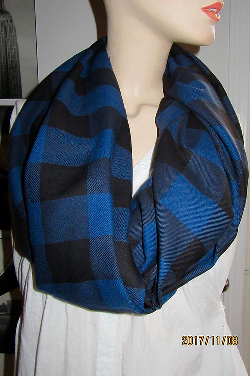 Buffalo Blue Black Tartan Plaid Infinity