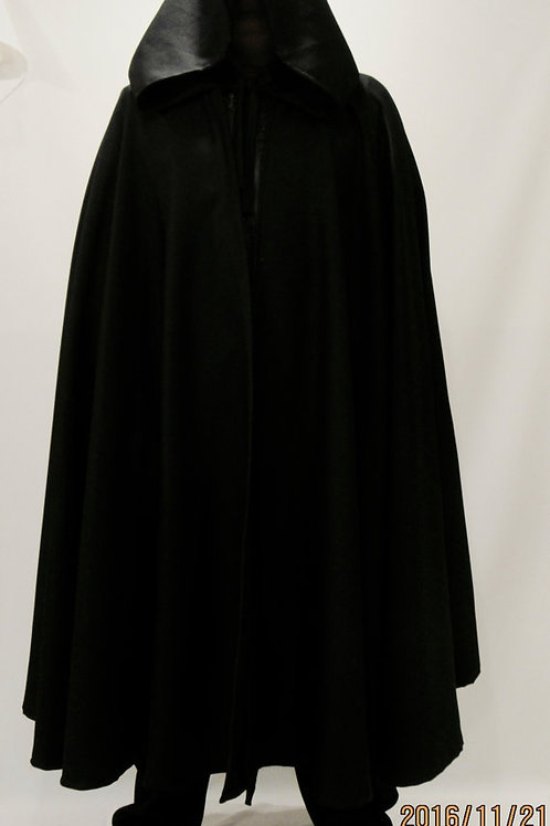 Black Wool Cloak Full Circle Cloak~ JEDI ROBE