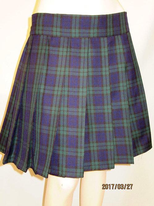 Black Watch Plaid Pleated Plaid Skirt~ Black Grey Green Plaid Skirt