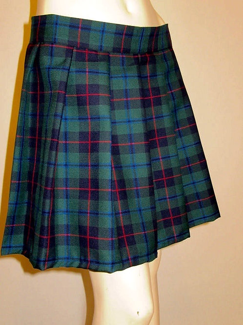 Armstrong Plaid Sewn down pleated high waist skirts~Green Red Plaid Skirt