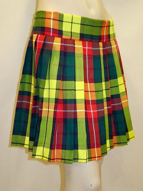 Modern Buchanan Plaid Skirt~Elastic Waist Side Pocket Pleated Skirt~Yellow Plaid