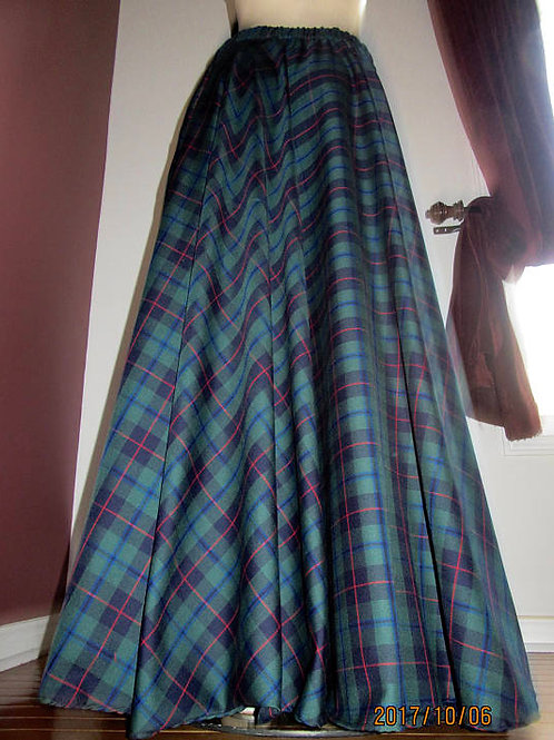 Armstrong Circle Skirt w/ pocket~Red Green Blue Plaid maxi skirt Floor Length Sk
