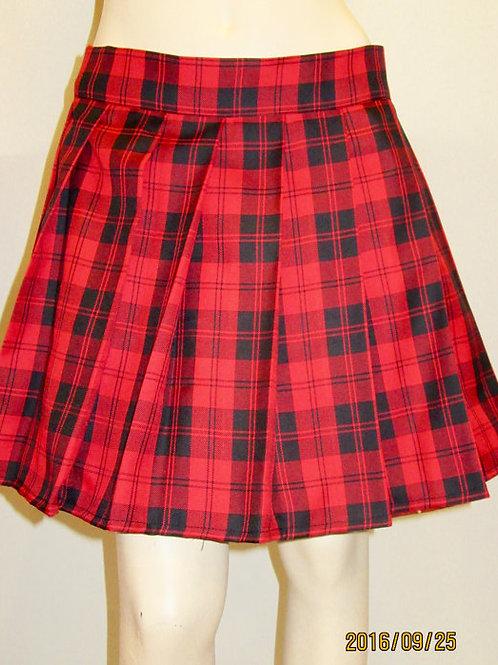 Menzies Red Plaid Pleated Skirt~RedBlack Plaid School Girl Plaid Skirt