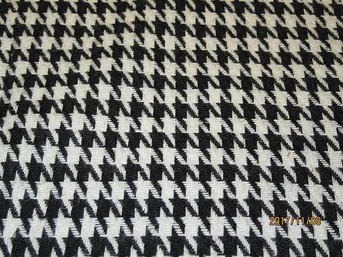 Black Houndstooth 100% Wool Fabric Italian fabric
