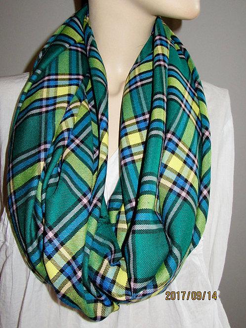 Alberta Plaid Infinity Scarf~Green Yellow blue Plaid Infinity scarf