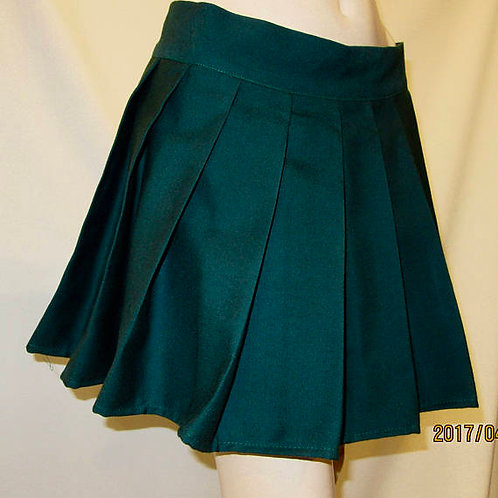 Dark Green Plaid Pleated Skirt~Plus Size Pleated Green Colour Skirt~
