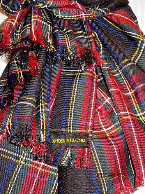 Black Stewart Plaid  Blanket Scarf~Red Black Plaid Wrap, Wedding Gift Scarf