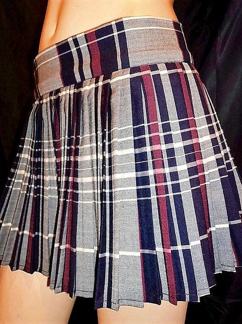 Maroon Grey Navy Plaid Sewn down pleated high waist skirts~School Girl Skirts