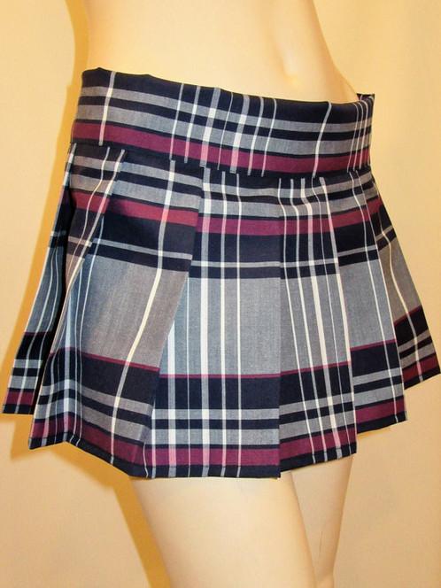 Maroon Gray Mini Pleated Plaid Skirt~School Girl Plaid Pleated ...