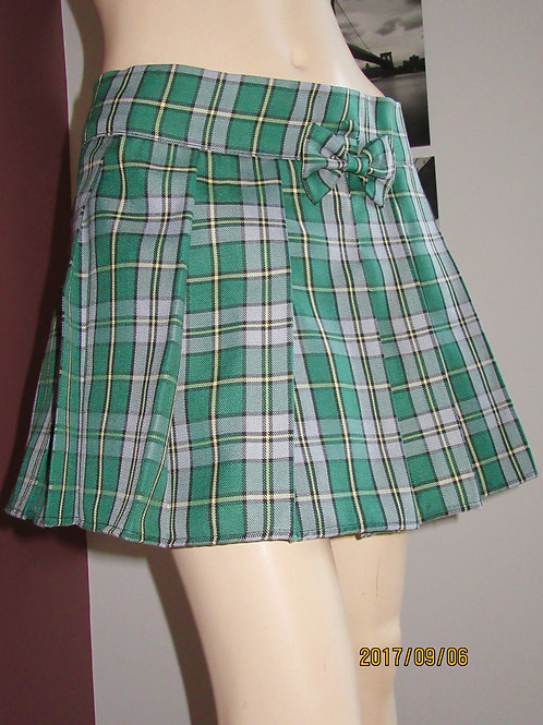 Cape Breton Small Plaid Pleated Skirt~Green white plaid Wrap around skirt