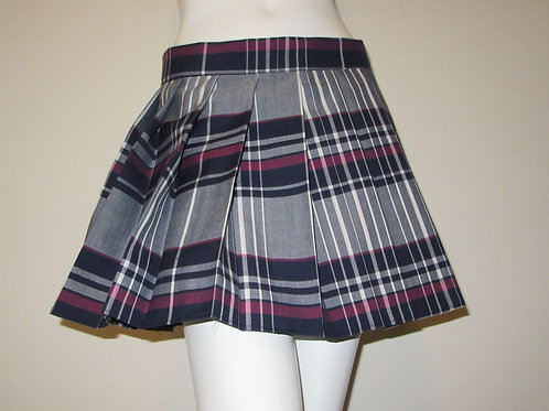 Maroon Gray Mini Pleated Plaid Skirt~School Girl Plaid Pleated Skirt~Costume Cos