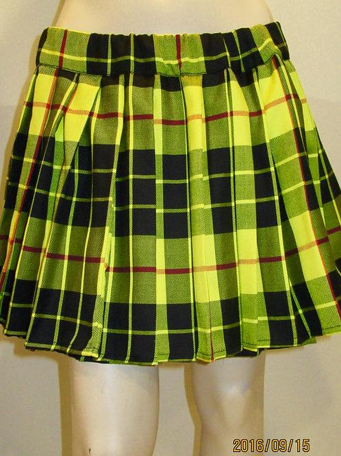 McLeod Of Lewis Plaid Elastic Waistband Pleated Skirt~Yellow Black Plaid Skirt