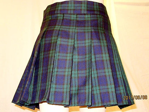 Black Watch Plaid High Waist Pleated skirt~Black Green Plaid skirt~Plus size