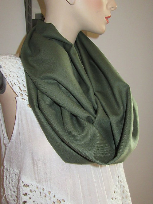 Olive Green wool infinity scarf