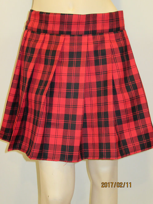 Menzies Red Plaid Pleated Plaid Skirt~ Red and Black Plaid Skirt