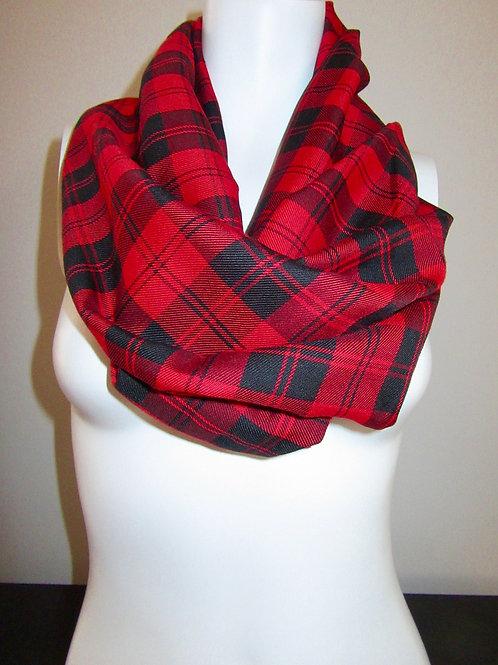 Menzies Red Tartan Plaid Infinity Scarf~Red Black Infinity scarf