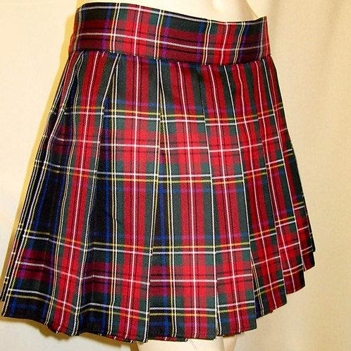 "Black Red Tartan Skirt~Black Stewart Plaid Pleated Skirt~16"" Long Plaid Skirt~"