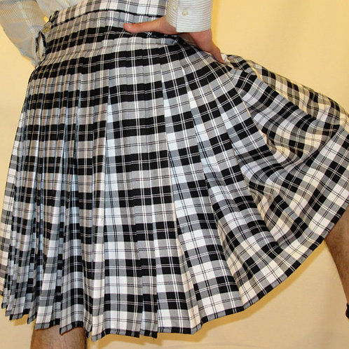 Menzies Black Tartan Plaid Kilt~Black White Plaid Kilt~Custom mAde Kilts