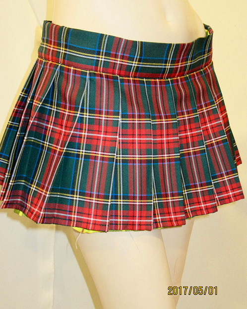 Beach Cover ~ Green Red Plaid Pleated Mini Skirt Tartan Skirt ...