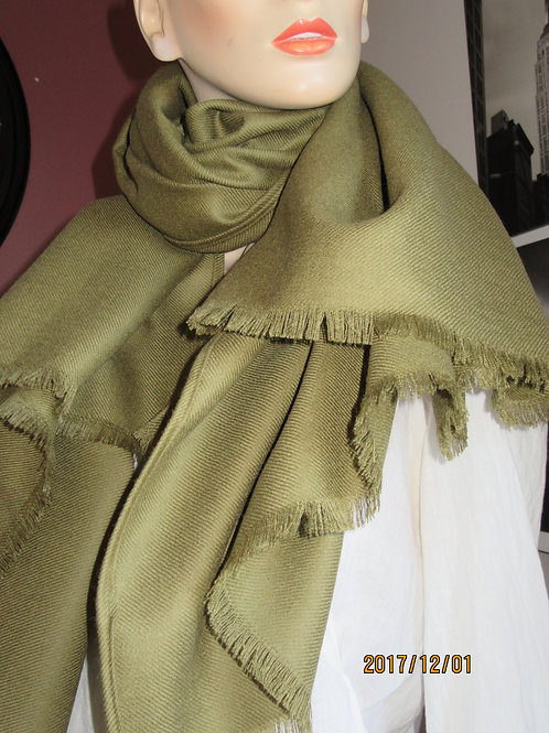 PURE WOOL  Blanket scarf~Olive Color Plaid Wraps, Shawls