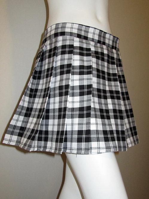 Menzies Black Plaid Pleated Mini Skirt Pub Wear~Pleated Plaid Skirt