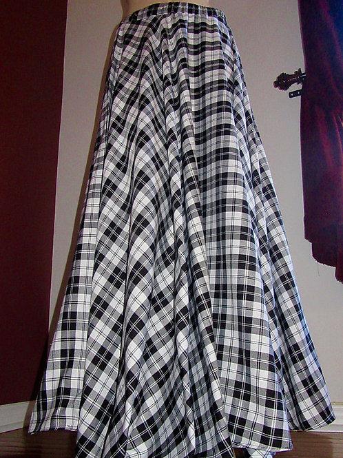 Menzies Black Full Circle Skirt~Salt Pepper Plaid Skirt~Bridesmaid Circle skirts