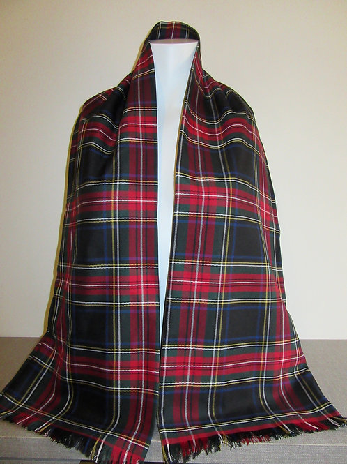 Black Stewart Plaid Fringe Scarf~Red Black plaid Men's Scarf~Custom make scarf