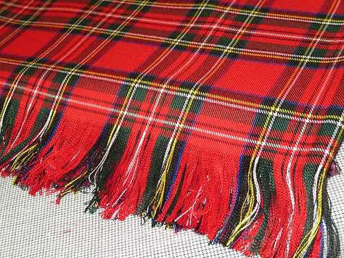 Red Royal Stewart Plaid Pashma Blanket Scarf