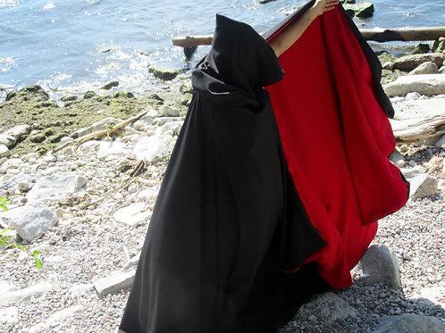 Reversible Cloak~ Red & Black Winter Cloak