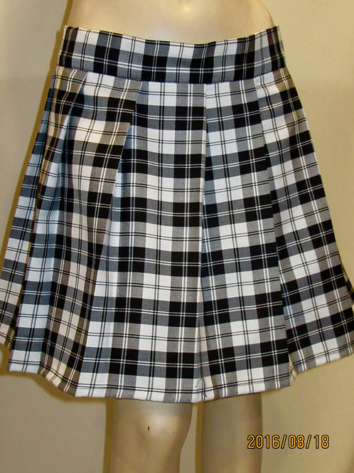 Menzies Black Tartan Pleated Skirt~Black White Skirt~Salt Pepper Skirt