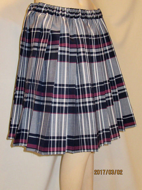 Maroon Gray Heavy Pleated Skirt Elastic Waistband~Side Pocket Plaid Skirt