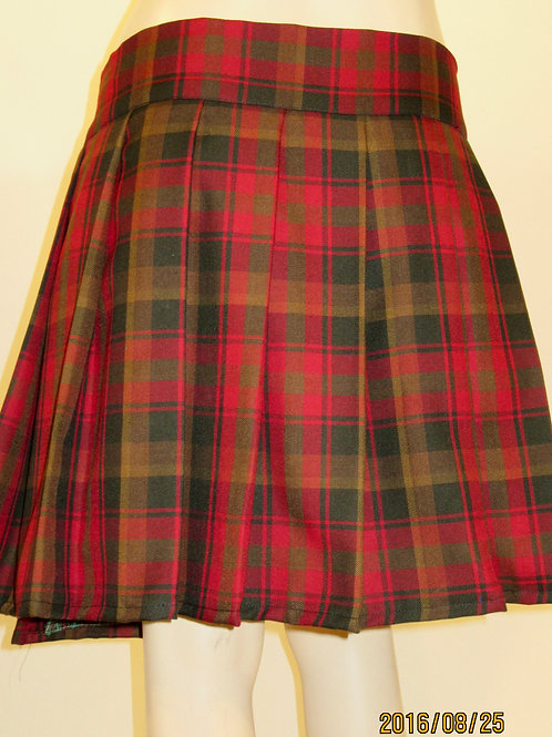 Maple Leaf Plaid  Sewn down pleated high waist skirts~Brown Gold Skirt
