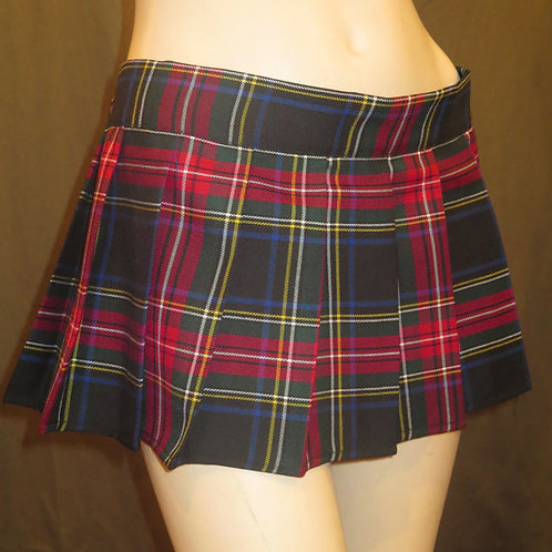 Dress Stewart~Red Black Plaid Pleated School Girl