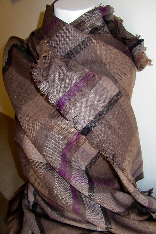 PURE WOOL  Blanket scarf~Mocha with Purple Plaid Pure Wool Winter Gift Scarf~W
