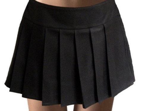 Solid Black Plaid Pleated Plaid Skirt Custom Made