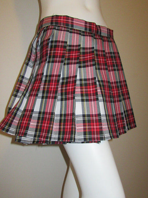 Dress Stewart Plaid Mini Skirt~Red White Plaid Mini School Girl Skirt
