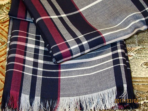 "Maroon Grey Tartan plaid fringe scarf~Men's Fringe Scarf~60"" Long Men's Scarf~"