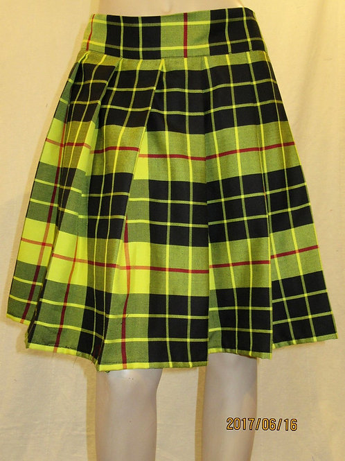 McLeod Of Lewis Plaid Sewn down pleated high waist skirts~Yellow Black Plai